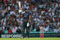 Varun Chopra of Essex raises his bat to celebrate reaching his fifty during Surrey vs Essex Eagles, Vitality Blast T20 Cricket at the Kia Oval on 12th July 2018