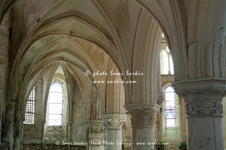 Columns and rib vaulting inside La Chapelle Church, Crecy-en-Ponthieu, Somme, France.