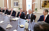 Incoming White House chief of staff Reince Priebus(C) is joined by Formers White House Chief of Staff Andrew Card (L), William Daily (2-L) , Samuel Knox Skinner (3-L) ,Rahm Emanuel (2-R) and Ken Duberstein (R) during a meeting in the Chief of Staff office of the White House in Washington, DC, December 16, 2016.  <br /> Credit: Olivier Douliery / Pool via CNP