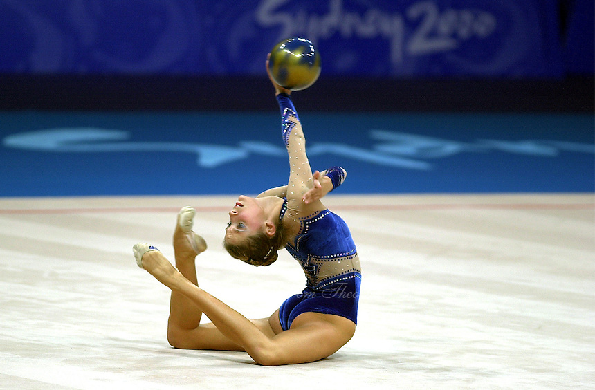 Sep 28, 2000; SYDNEY, AUSTRALIA:<br /> Emilie Livingston of Canada performs with ball during rhythmic gymnastics qualifying at 2000 Summer Olympics.