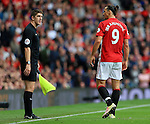 Zlatan Ibrahimovic of Manchester United confronts the linesman during the Premier League match at Old Trafford Stadium, Manchester. Picture date: September 24th, 2016. Pic Sportimage