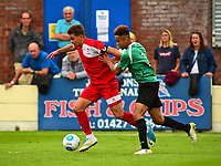 Lincoln City's Ellis Chapman vies for possession with Gainsborough Trinity's Jordan Richard<br /> <br /> Photographer Andrew Vaughan/CameraSport<br /> <br /> Pre-Season Friendly - Gainsborough Trinity v Lincoln City - Saturday 15th July 2017 - The Gainsborough Martin &amp; Co Arena - Gainsborough<br /> <br /> World Copyright &copy; 2017 CameraSport. All rights reserved. 43 Linden Ave. Countesthorpe. Leicester. England. LE8 5PG - Tel: +44 (0) 116 277 4147 - admin@camerasport.com - www.camerasport.com
