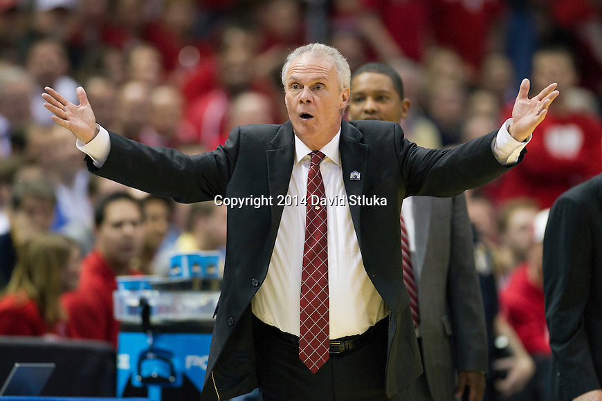 Wisconsin Badgers Head Coach Bo Ryan reacts to a technical foul during the third-round game in the NCAA college basketball tournament against the Oregon Ducks Saturday, April 22, 2014 in Milwaukee. The Badgers won 85-77. (Photo by David Stluka)