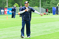 June 7, 2017: New England Patriots offensive coordinator Josh McDaniels calls a play at the New England Patriots mini camp held on the practice field at Gillette Stadium, in Foxborough, Massachusetts. Eric Canha/CSM