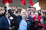 © Joel Goodman - 07973 332324 . 05/05/2017. Manchester, UK.  Labour Party Leader JEREMY CORBYN visits Manchester following Andy Burnham's victory in the Manchester Metro mayoralty campaign , for a Momentum Rally on the steps of the Manchester Convention Centre . Andy Burnham did not attend . Photo credit : Joel Goodman
