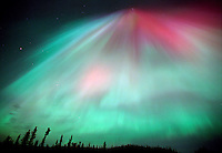 The aurora borealis, or northern lights, fill the night sky above Soldotna, Alaska.