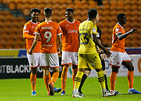 Blackpool's Joe Nuttall is congratulated after scoring his side's fifth goal<br /> <br /> Photographer Alex Dodd/CameraSport<br /> <br /> EFL Leasing.com Trophy - Northern Section - Group G - Blackpool v Morecambe - Tuesday 3rd September 2019 - Bloomfield Road - Blackpool<br />  <br /> World Copyright © 2018 CameraSport. All rights reserved. 43 Linden Ave. Countesthorpe. Leicester. England. LE8 5PG - Tel: +44 (0) 116 277 4147 - admin@camerasport.com - www.camerasport.com
