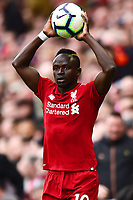 Liverpool's Sadio Mane takes a throw in<br /> <br /> Photographer Richard Martin-Roberts/CameraSport<br /> <br /> The Premier League - Liverpool v Chelsea - Sunday 14th April 2019 - Anfield - Liverpool<br /> <br /> World Copyright © 2019 CameraSport. All rights reserved. 43 Linden Ave. Countesthorpe. Leicester. England. LE8 5PG - Tel: +44 (0) 116 277 4147 - admin@camerasport.com - www.camerasport.com