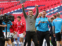 Graham Alexander manager of Salford City gives his owners the thumbs up after the AFC Fylde vs Salford City, Vanarama National League Play-Off Final Football at Wembley Stadium on 11th May 2019