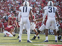 NWA Democrat-Gazette/J.T. WAMPLER Arkansas' Cole Hedlund lines up for a kick in the second half against TCU Saturday Sept. 9, 2017 at Donald W. Reynolds Razorback Stadium in Fayetteville. Hedlund missed two field goal attempts during the Hogs' 28-7 loss to TCU.