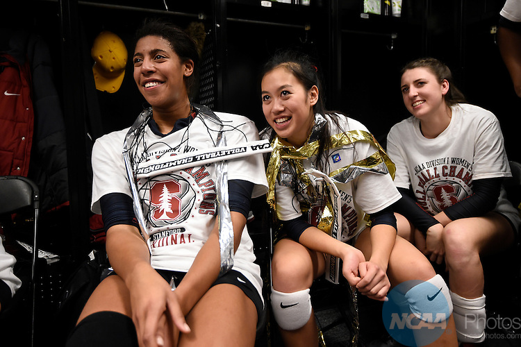 COLUMBUS, OH - DECEMBER 17:  Stanford University celebrates after their victory over the University of Texas during the Division I Women's Volleyball Championship held at Nationwide Arena on December 17, 2016 in Columbus, Ohio.  Stanford defeated Texas 3-1 to win the national title. (Photo by Jamie Schwaberow/NCAA Photos via Getty Images)