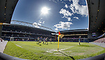 Rangers take a throw-in as the sun shines over Govan