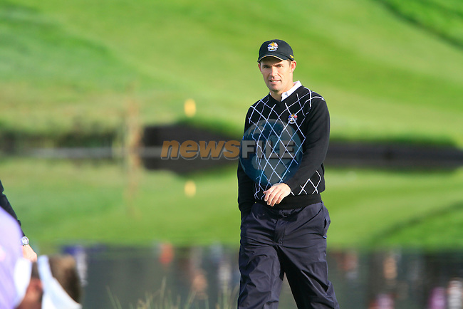 Padraig Harrington arrives onto the 13th green in the Day 2 session of the overnight Fourball Match 4 during Day 1 of the The 2010 Ryder Cup at the Celtic Manor, Newport, Wales, 29th September 2010..(Picture Eoin Clarke/www.golffile.ie)