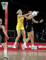 20.09.2012 Silver Ferns Irene Van Dyk and Australian Laura Geitz in action during the second netball test match between the Silver Ferns and the Australian Diamonds played at Vector Arena in Auckland. Mandatory Photo Credit ©Michael Bradley.