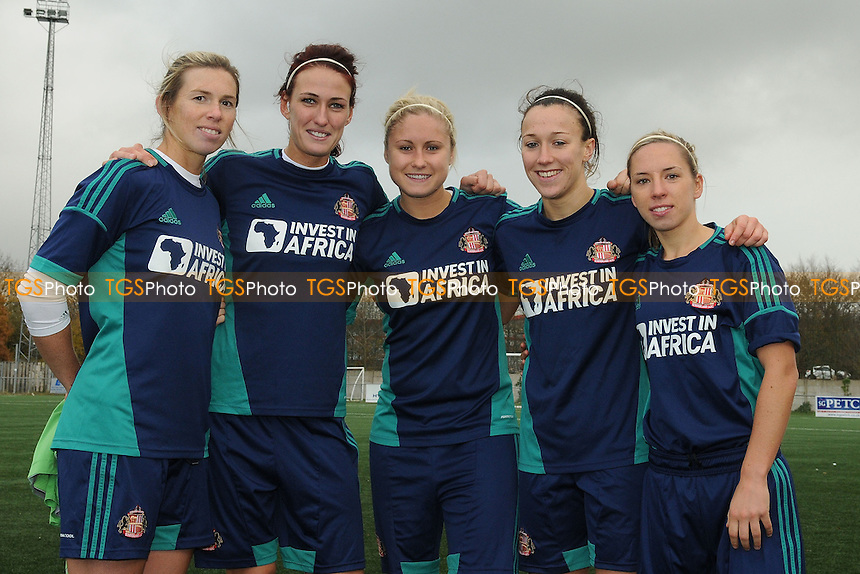 The five England players on show, Carly Telford, Jill Scott, Steph Houghton, Lucy Bronze & Jordan Nobbs - Sunderland Women vs Sunderland Women Legends - FA Womens Premier League Football at the Hetton Centre - 24/11/13 - MANDATORY CREDIT: Steven White/TGSPHOTO - Self billing applies where appropriate - 0845 094 6026 - contact@tgsphoto.co.uk - NO UNPAID USE