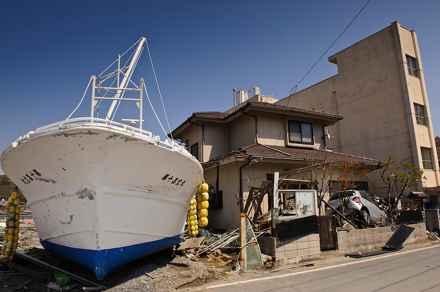 Boats and cars swept inland by the March 11 tsunami, Ishinomaki, Miyagi Prefecture, Japan, May 5, 2011. Almost two months after the devastating earthquake and tsunami the reconstruction has barely begun.