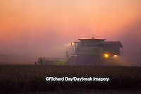 63801-06605 John Deere combine harvesting soybeans at sunset, Marion Co., IL