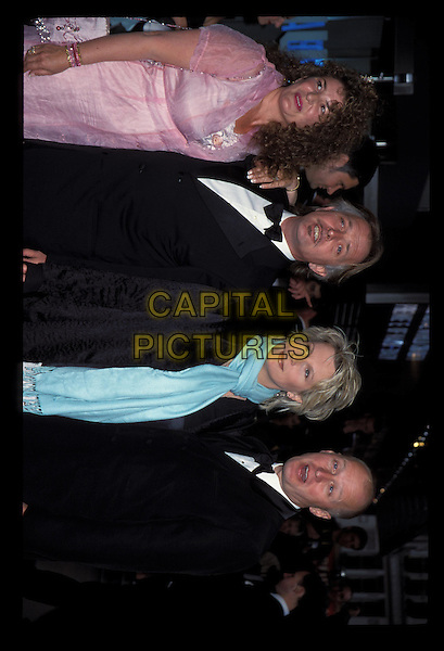 JENNIFER SAUNDERS, RIK MAYALL & ADE EDMONDSON.Ref:9719.black tuxedo, blue scarf, cross-eyed, half length, half-length.RAW SCAN - PHOTO WILL BE ADJUSTED FOR PUBLICATION.www.capitalpictures.com.sales@capitalpictures.com.©Capital Pictures.