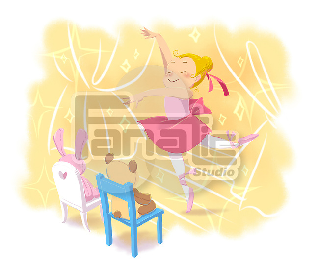 Illustrative image of girl performing ballet dance in front of teddy bears representing aspiration