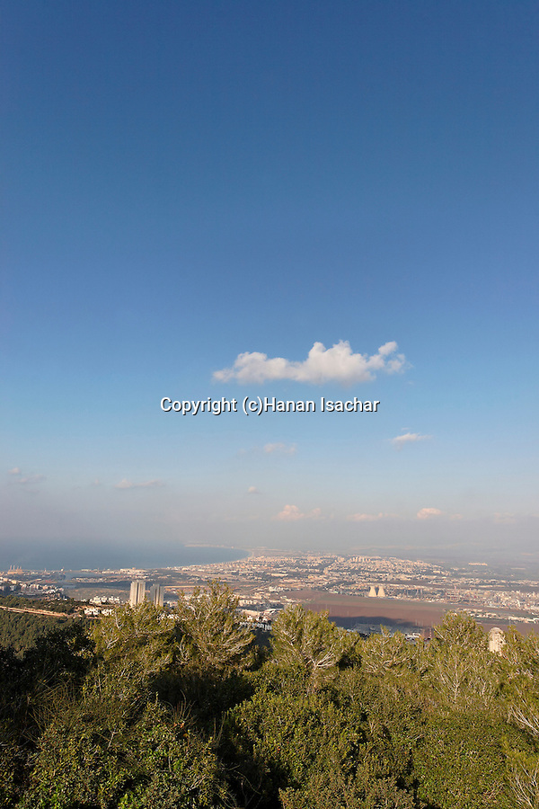 Mount Carmel. A view of Haifa bay from Mount Carmel