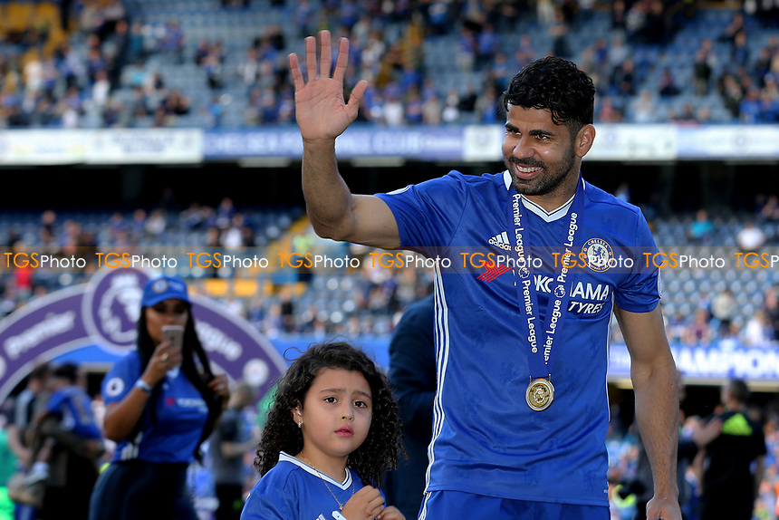 Chelsea's Diego Costa waves at the fans as he celebrates winning the Premier League with a walk around the edge of the pitch during Chelsea vs Sunderland AFC, Premier League Football at Stamford Bridge on 21st May 2017