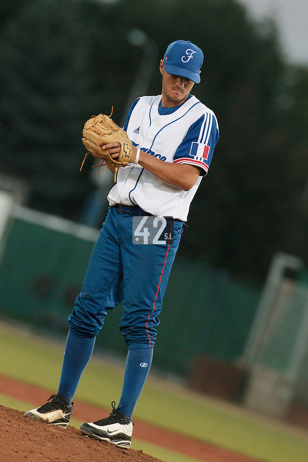 21 August 2010: Starting pitcher Joris Navarro of Team France pitches against Russia during Russia 13-1 win in 7 innings over France, at the 2010 European Championship, under 21, in Brno, Czech Republic.