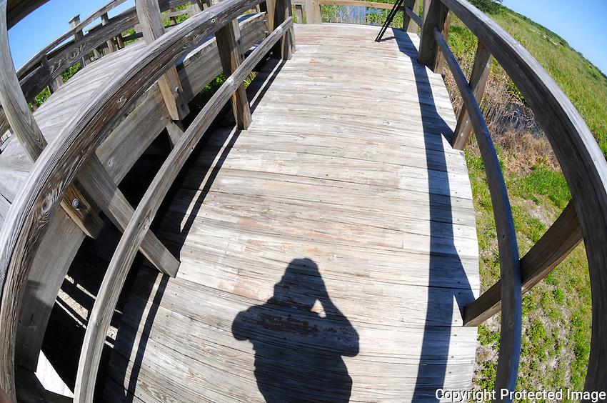 Photographer's Shadow at an elevated watch post in Arthur Marshall Loxahatchee Preserve, Boynton Beach, Florida. Nikon D300 Camera & Fisheye Lens.