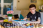 Castleisland Comm College leaving cert student Liam Moloney studying at home in Farranfore as he is on line with the Community College study web site on Tuesday.