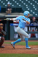 Ashton McGee (36) of the North Carolina Tar Heels follows through on his swing against the Boston College Eagles in Game Five of the 2017 ACC Baseball Championship at Louisville Slugger Field on May 25, 2017 in Louisville, Kentucky. The Tar Heels defeated the Eagles 10-0 in a game called after 7 innings by the Mercy Rule. (Brian Westerholt/Four Seam Images)
