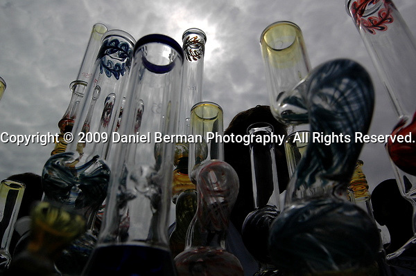 Glass water pipes were available for purchase, alongside many natural hemp products on day one of Hempfest at Myrtle Edwards Park. Photo by Daniel Berman/SeattlePI.com