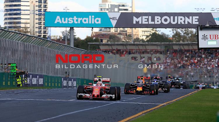 20.03.2016. Albert-Park-Circuit, Melbourne,  AUS, F1, Formula 1 Rolex Australien Grand Prix,  Race01 im Bild   <br /> Kimi Raikkonen (FIN#7), Scuderia Ferrari,Daniel Ricciardo (AUS#3), Infiniti Red Bull Racing,Max Verstappen (NEL#33), Scuderia Toro Rosso,Carlos Sainz Jr. (SPA#55), Scuderia Toro Rosso<br /> <br /> <br /> Foto &copy; nordphoto /  Bratic