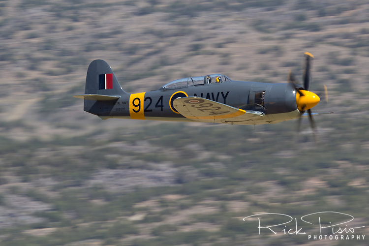 The Bristol Centaurus powered Hawker Sea Fury 924 in flight during a race at Stead Field during the 2013 National Championship Air Races.