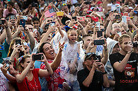 """Attendees cheer as U.S. President Donald Trump speaks during the Fourth of July Celebration 'Salute to America' event in Washington, D.C., U.S., on Thursday, July 4, 2019. The White House said Trump's message won't be political -- Trump is calling the speech a """"Salute to America"""" -- but it comes as the 2020 campaign is heating up. <br /> h<br /> CAP/MPI/CNP<br /> ©CNP/MPI/Capital Pictures"""