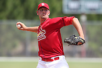 St. Louis Cardinals minor league pitcher Deryk Hooker delivers a pitch during a spring training game vs the Florida Marlins at the Roger Dean Sports Complex in Jupiter, Florida;  March 25, 2011.  Photo By Mike Janes/Four Seam Images