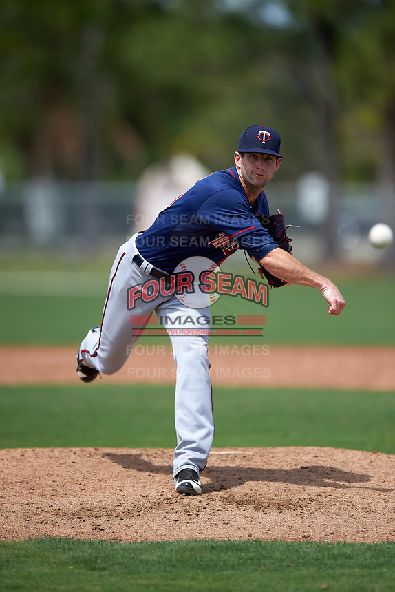 Minnesota Twins Jake Reed (18) during a minor league Spring Training game against the Baltimore Orioles on March 16, 2016 at CenturyLink Sports Complex in Fort Myers, Florida.  (Mike Janes/Four Seam Images)