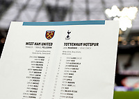 23rd November 2019; London Stadium, London, England; English Premier League Football, West Ham United versus Tottenham Hotspur; Tottenham Hotspur Manager Jose Mourinho is featured on the back of the match programme for the first time - Strictly Editorial Use Only. No use with unauthorized audio, video, data, fixture lists, club/league logos or 'live' services. Online in-match use limited to 120 images, no video emulation. No use in betting, games or single club/league/player publications