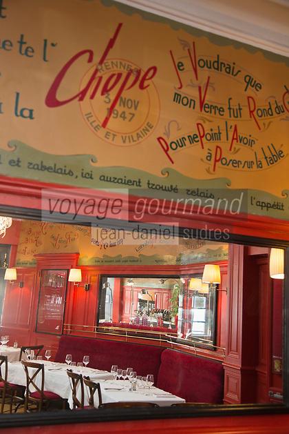 Europe/France/Bretagne/35/Ille et Vilaine/Rennes: Brasserie: La Chope - Fresque avec ses dictons peints sur les murs [Non destiné à un usage publicitaire - Not intended for an advertising use]