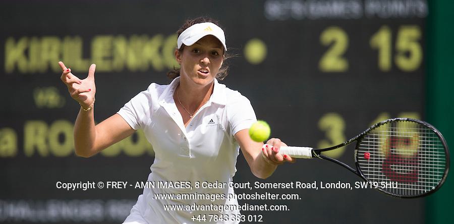 Laura Robson<br /> <br /> Tennis - The Championships Wimbledon  - Grand Slam -  All England Lawn Tennis Club  2013 -  Wimbledon - London - United Kingdom - Tuesday 25th June  2013. <br /> &copy; AMN Images, 8 Cedar Court, Somerset Road, London, SW19 5HU<br /> Tel - +44 7843383012<br /> mfrey@advantagemedianet.com<br /> www.amnimages.photoshelter.com<br /> www.advantagemedianet.com<br /> www.tennishead.net