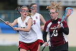 Santa Barbara, CA 02/19/11 - Kari Hansen (Minnesota-Duluth #3) and Annie Kutzscher (Stanford #12) in action during the Stanford - Minnesota-Duluth game at the 2011 Santa Barbara Shootout.