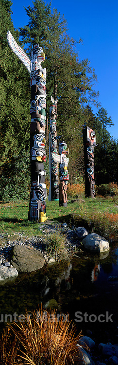 Totem Poles at Brockton Point in Stanley Park, Vancouver, BC, British Columbia, Canada