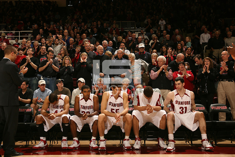 1 March 2008: Stanford Cardinal Fred Washington, Kenny Brown, Peter Prowitt, Brook Lopez, and Taj Finger during Stanford's 60-53 win against the Washington State Cougars at Maples Pavilion in Stanford, CA.