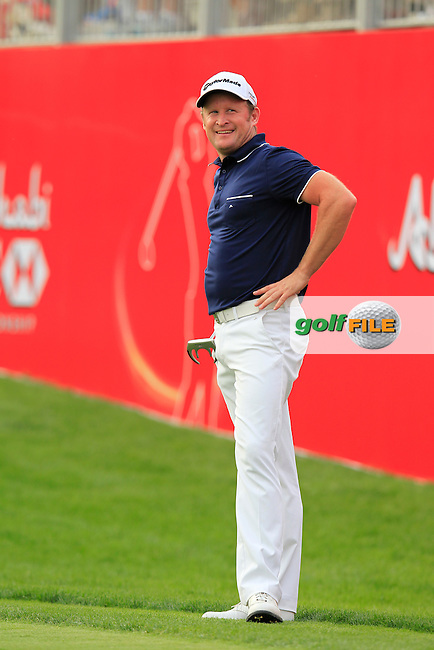 Jamie Donaldson (WAL) at the 17th green during Sunday's Final Round of the Abu Dhabi HSBC Golf Championship 2015 held at the Abu Dhabi Golf Course, United Arab Emirates. 18th January 2015.<br /> Picture: Eoin Clarke www.golffile.ie