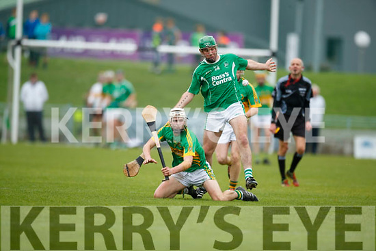 Mikey Boyle Ballyduff in action against Ricky Heffernan Lixnaw in the Senior County Hurling Final in Austin Stack Park on Sunday