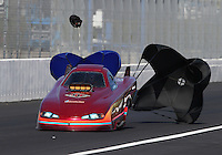 Feb. 15, 2013; Pomona, CA, USA; NHRA top alcohol funny car driver Mark Woznichak during qualifying for the Winternationals at Auto Club Raceway at Pomona. Mandatory Credit: Mark J. Rebilas-