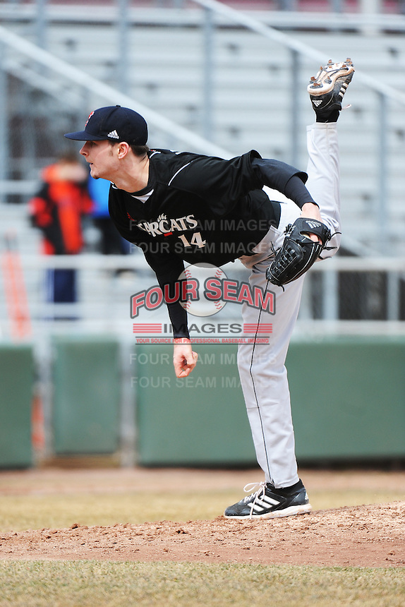 Cincinnati Bearcats pitcher Connor Walsh (14) during 1st game of double header against the St. John's Redstorm at Jack Kaiser Stadium on March 28, 2013 in Queens, New York. St. John's defeated Cincinnati 6-5.      . (Tomasso DeRosa/ Four Seam Images)