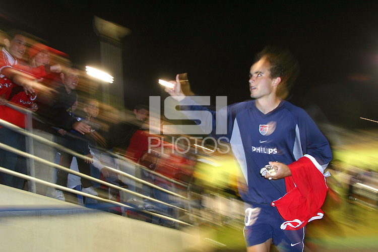 Landon Donovan of the U.S. National team waves to the crowd after the match against Wales at Spartan Stadium,  in San Jose, Calif., Monday, May 26, 2003. The USA won 2-0.