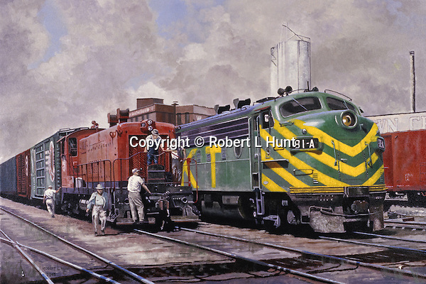 "Katy Railroad F unit diesel in brand new paint scheme next to a plain red yard switcher, Dallas, Texas, circa 1960. Oil on canvas, 18"" x 27""."