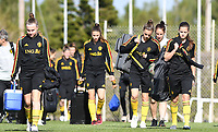 20190228 - LARNACA , CYPRUS : Belgian Davinia Vanmechelen , Chloe Vande Velde and Shari Van Belle pictured during a Matchday -1 training from The Belgian Red Flames prior to their game against the women team of Austria , on Thursday 28 February 2019 at the Alpha Sports Grounds in Larnaca , Cyprus . This will be the second game in group C for Belgium during the Cyprus Womens Cup 2019 , a prestigious women soccer tournament as a preparation on the European Championship 2021 qualification duels. PHOTO SPORTPIX.BE | DAVID CATRY