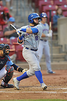 South Bend Cubs designated hitter Michael Cruz (8) swings at pitch against the Cedar Rapids Kernels at Veterans Memorial Stadium on May 1, 2018 in Cedar Rapids, Iowa.  (Dennis Hubbard/Four Seam Images)