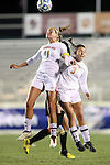 02 November 2012: Maryland's Olivia Wagner (11) and Aubrey Baker (3). The Wake Forest University Demon Deacons played the University of Maryland Terrapins at WakeMed Stadium in Cary, North Carolina in a 2012 NCAA Division I Women's Soccer and Atlantic Coast Conference Tournament semifinal game. Maryland won the game 2-0.